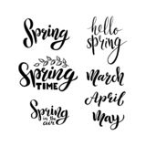 Hello spring, march, april, may, calligraphic set stock illustration