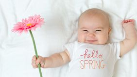 Hello Spring message with baby girl. Holding a flower stock image