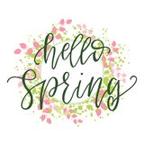 Hello spring motivational and inspirational season quote text. Calligraphy, lettering design. Typography for greeting card, poster stock illustration