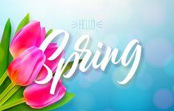 Hello spring nature design with beautiful tulip flower bouquet on shiny blue background. Vector floral design template. With typography letter Royalty Free Stock Photos