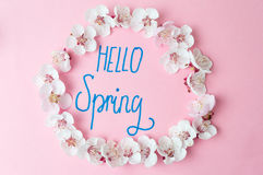 Hello spring note with cherry blossom flowers. Hello spring calligraphy note with cherry blossom flowers stock image