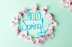 Hello spring note with cherry blossom flowers. Hello spring calligraphy note with cherry blossom flowers stock photos