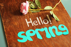 Hello spring note and flower Stock Photo
