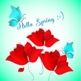 Hello Spring Paper-cut style card on green background. Red flower, blue butterfly. 3D vector, day, happy, love, flora. Design, wallpaper, pattern, art, tulip Stock Image