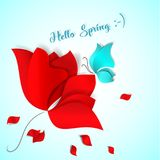 Hello Spring Paper-cut style card. Red flower, blue butterfly and flying petals. 3D vector, day, happy, love, flora. Design, wallpaper, pattern, art tulip rose Royalty Free Stock Images