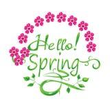 Hello spring postcard. Illustration Stock Photo