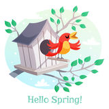 Hello Spring poster. Birdhouse and a singing bird Royalty Free Stock Photo