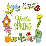 Hello spring poster cactus flower ladybug bird Stock Photography