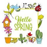 Hello spring poster cactus flower ladybug bird. Vector illustration Stock Photography