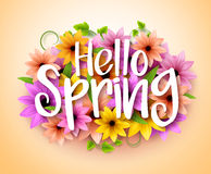 Hello Spring Poster Design in Realistic Colorful Vector Flowers Stock Photography
