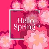 Hello Spring Poster with Paper Flowers. Yellow Monochrome Floral Postcard or Banner. Paper cut design template. Vector illustration Stock Photography