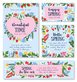 Hello spring poster template with flower and berry. Hello spring floral greeting card and banner template. Spring flower and berry frame in shape of heart with royalty free illustration