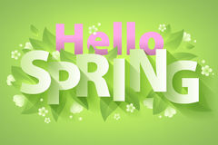 Hello Spring quote message background vector illustration. Stock Photography