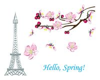 Hello, Spring. Romantic spring illustration in the new minimalism style with a branch of cherry blossoms or Magnolia, Eiffel tower and text Hello, Spring. Design Stock Images