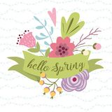 Vector spring text Hello Spring on ribbon decorated hand drawn flower Vector typography illustration colors. Hello Spring romantic text on green ribbon decorated royalty free illustration
