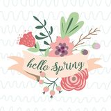 Vector spring text Hello Spring on ribbon decorated hand drawn flower Vector typography illustration pastel colors. Hello Spring romantic text on pastel ribbon royalty free illustration