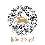 Hello spring. Running silhouette of a rabbit in the flower circle. Calligraphy card. Hand drawn design elements. Handwritten mode stock illustration