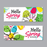 Hello spring sale banner template with colorful flower.Can be us. E voucher, wallpaper,flyers, invitation, posters, brochure, coupon discount Royalty Free Stock Photo