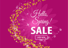 Hello spring sale banner. Vector illustration for your design EPS10 Royalty Free Stock Images