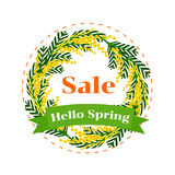 Hello Spring Sale. Vector illustration. Hello Spring. Bright colored spots. Mimosa wreath. Round frame.  illustration on white background Stock Images