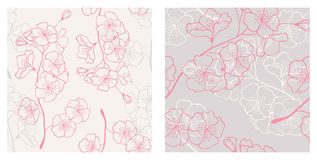 Hello spring. seamless patterns. Vector seamless patterns with sakura branch Stock Photography