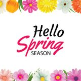 Hello spring season greeting card with colorful flower frame bac Royalty Free Stock Image