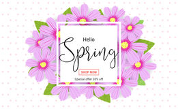 Hello spring season time, sales season banner or poster Royalty Free Stock Images