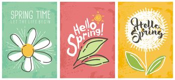 Hello spring seasonal banners collection. Artistic drawing posters set with flowers and plants. Floral decorated line art banners selection Vector Illustration
