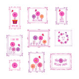 Hello spring. Set of decorative elements for birthday, wedding, easter, Mothers Day. Vintage frames and flowers. Doodles, sketch for your design. Vector Stock Images