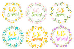 Hello Spring set floral frame for text, isolated on white background. Vector illustration. Stock Images