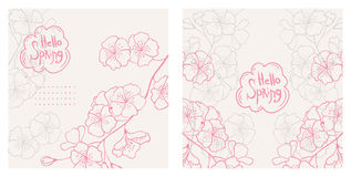 Hello spring. set of vector floral backgrounds. Set of vector floral backgrounds with sakura flowers Stock Photos