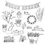 Hello Spring sketch set. First flowers, gardening and Lettering. Stock Image