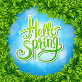 Hello Spring on Sky Blue Ringed by Green Leaves Royalty Free Stock Photography