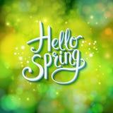 Hello Spring sparkling green card design Stock Photography