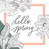 Hello spring in square with flowers. Hello spring on white back in square with flowers and tropical leaves Stock Images