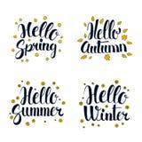 Hello Spring, Summer, Autumn and Winter. Calligraphy season banner design. Vector illustration Stock Photo