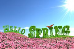 Hello Spring text on floral meadow stock illustration