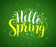 Hello spring text typography vector banner design in green background Royalty Free Stock Images