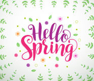 Hello spring text typography vector banner design in white background stock illustration