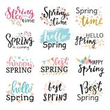 Hello spring time vector lettering text greeting card special springtime typography hand drawn Spring graphic. Hello spring time vector lettering text greeting Stock Image