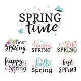 Hello spring time vector lettering text greeting card special springtime typography hand drawn Spring graphic. Hello spring time vector lettering text greeting Royalty Free Stock Photography