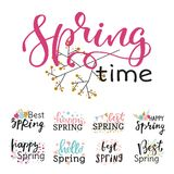Hello spring time vector lettering text greeting card special springtime typography hand drawn Spring graphic. Hello spring time vector lettering text greeting Royalty Free Stock Image