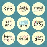 Hello spring time vector lettering text greeting card special springtime typography hand drawn Spring graphic. Hello spring time vector lettering text greeting Royalty Free Stock Photo