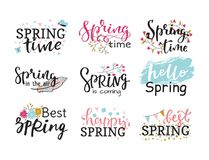 Hello spring time vector lettering text greeting card special springtime typography hand drawn Spring graphic. Hello spring time vector lettering text greeting Royalty Free Stock Photos