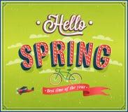Hello spring typographic design. Stock Photos