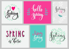 Hello spring typography set Stock Image