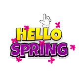 Comic text advertise hello spring. Hello spring vacation travel comic text pop art advertise. Cute comics book summertime poster phrase. Vector colored halftone Royalty Free Stock Photography