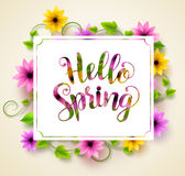 Hello spring vector background design with paper cut typography Royalty Free Stock Photo