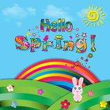 Hello spring vector cartoon colorful paper illustration. Of beautiful landscape with sun, flowers, birds and rainbow on green field with grass and blue cloudy Stock Image