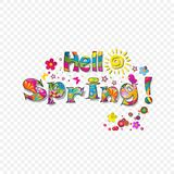 Hello spring vector cartoon colorful paper illustration Royalty Free Stock Photography
